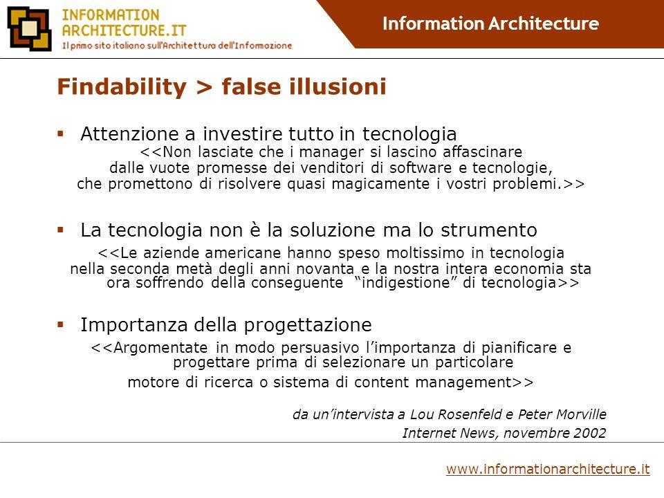 Information Architecture Da dove si parte nella progettazione.