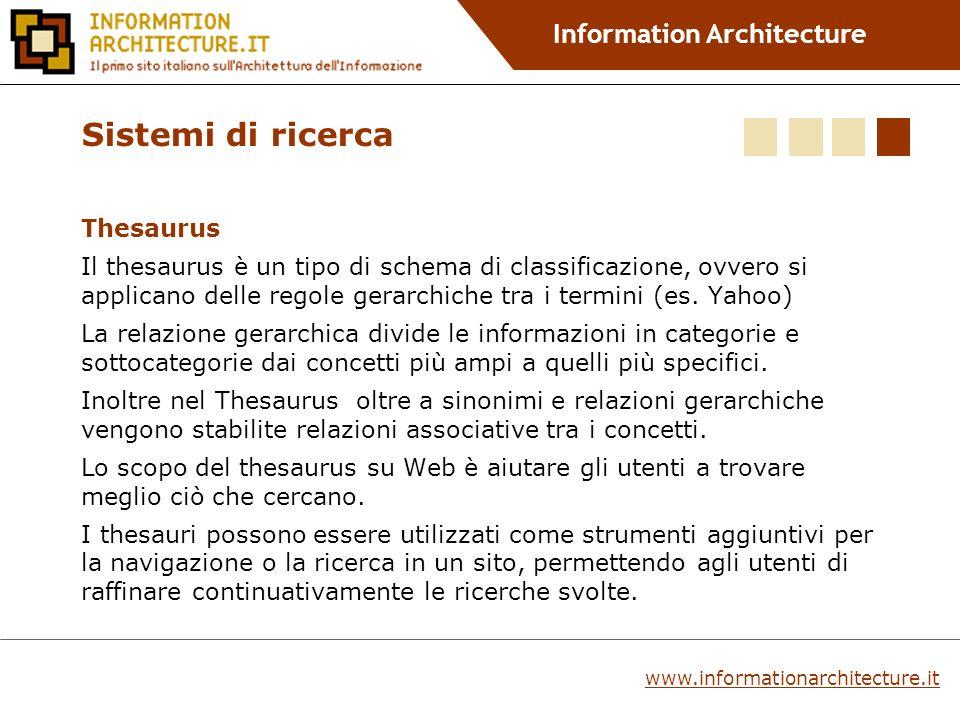 Information Architecture Thesaurus Il thesaurus è un tipo di schema di classificazione, ovvero si applicano delle regole gerarchiche tra i termini (es.