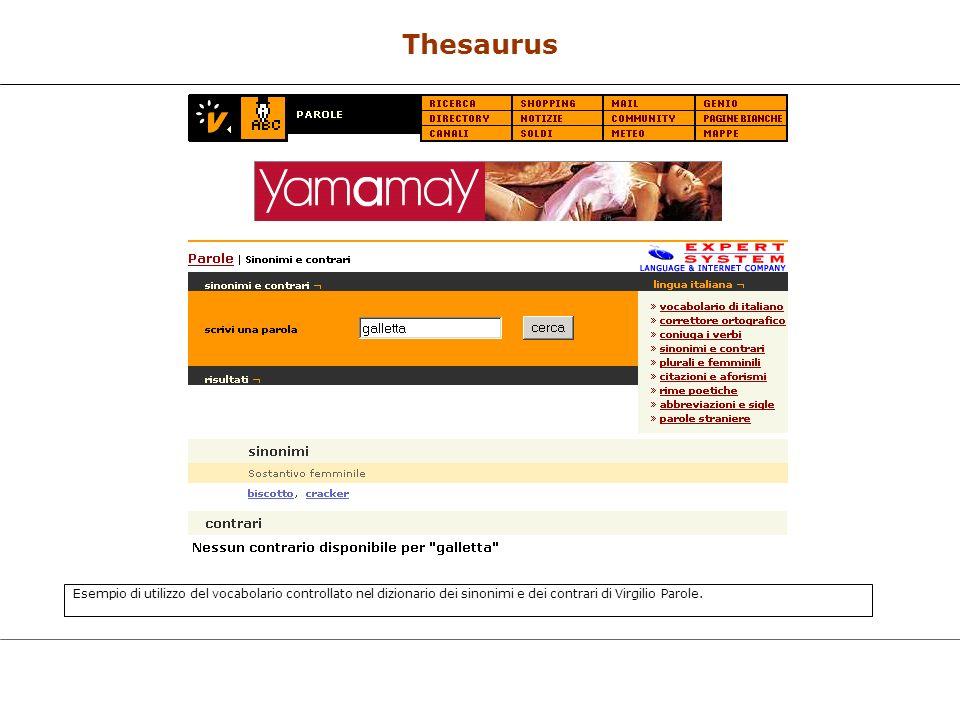 Thesaurus Esempio di utilizzo del vocabolario controllato nel dizionario dei sinonimi e dei contrari di Virgilio Parole.