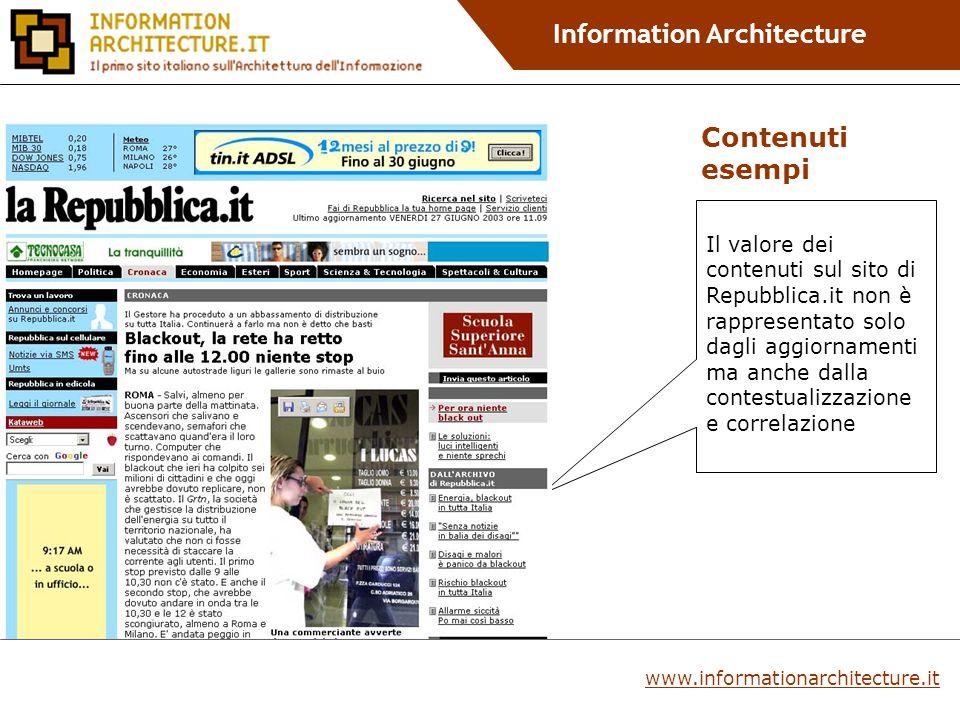 Information Architecture Il valore dei contenuti sul sito di Repubblica.it non è rappresentato solo dagli aggiornamenti ma anche dalla contestualizzazione e correlazione Contenuti esempi www.informationarchitecture.it
