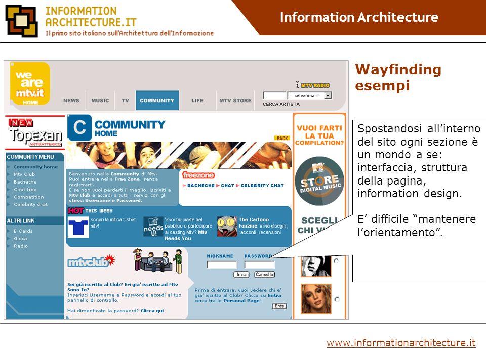 Information Architecture Spostandosi allinterno del sito ogni sezione è un mondo a se: interfaccia, struttura della pagina, information design.
