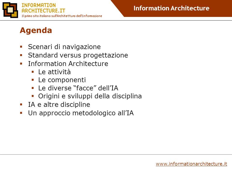 Information Architecture Information Architecture e altre discipline www.informationarchitecture.it Visual Design e Interaction Design Usability Information Design Content Design Software Design