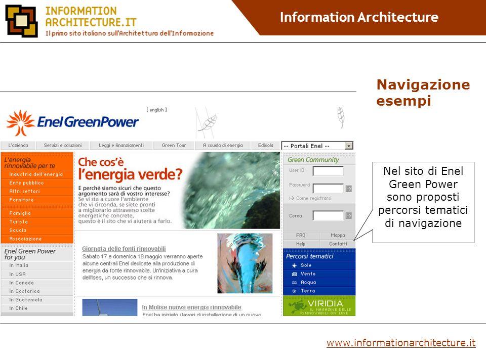 Information Architecture Nel sito di Enel Green Power sono proposti percorsi tematici di navigazione Navigazione esempi www.informationarchitecture.it