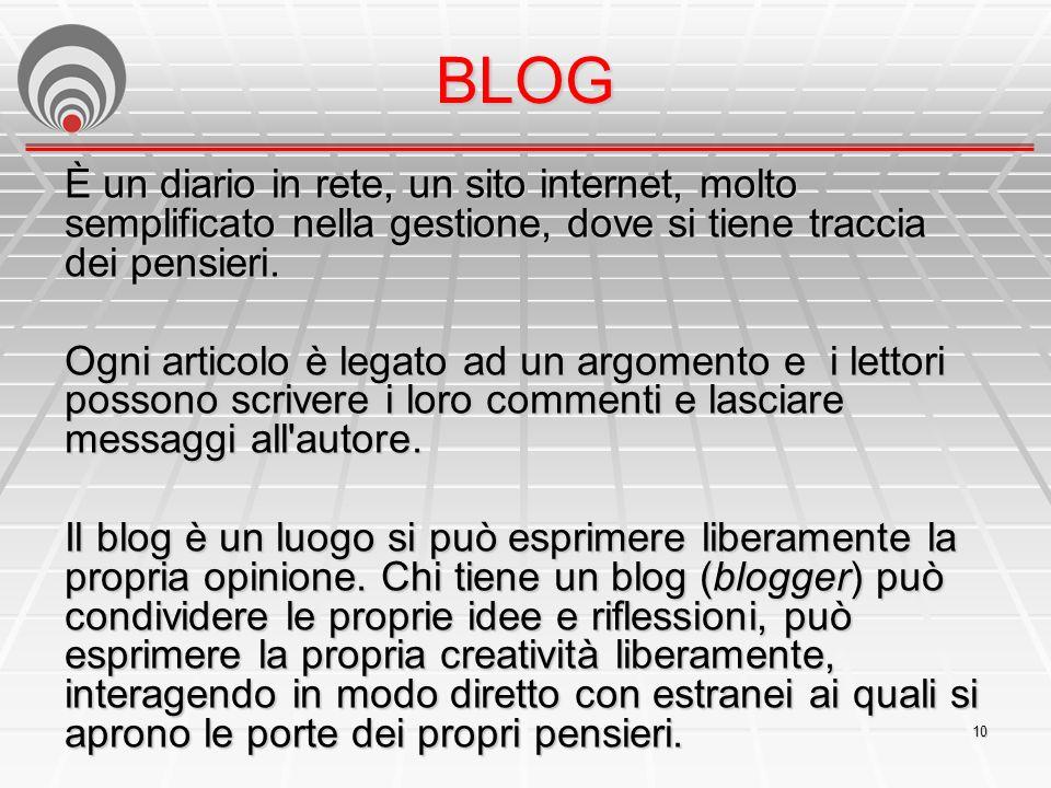 10 BLOG È un diario in rete, un sito internet, molto semplificato nella gestione, dove si tiene traccia dei pensieri.