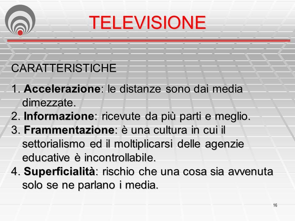 16 TELEVISIONE CARATTERISTICHE 1.Accelerazione: le distanze sono dai media dimezzate.