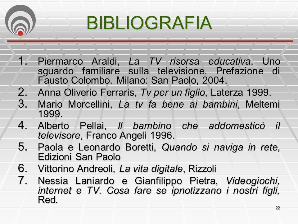 22 BIBLIOGRAFIA 1.Piermarco Araldi, La TV risorsa educativa.