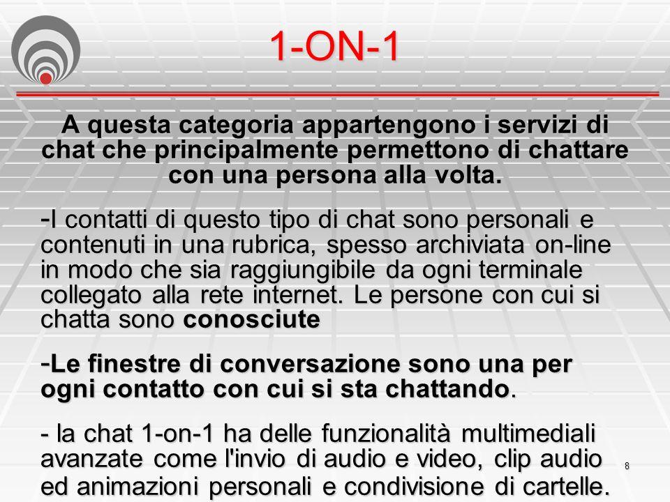 8 1-ON-1 A questa categoria appartengono i servizi di chat che principalmente permettono di chattare con una persona alla volta.