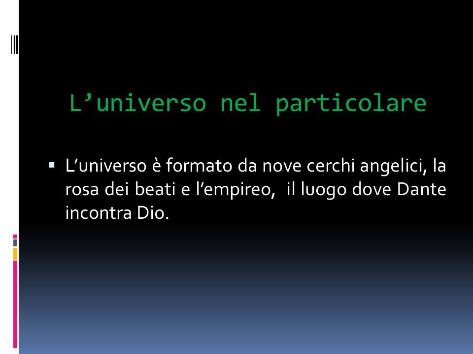 Luniverso nel particolare Luniverso è formato da nove cerchi angelici, la rosa dei beati e lempireo, il luogo dove Dante incontra Dio.