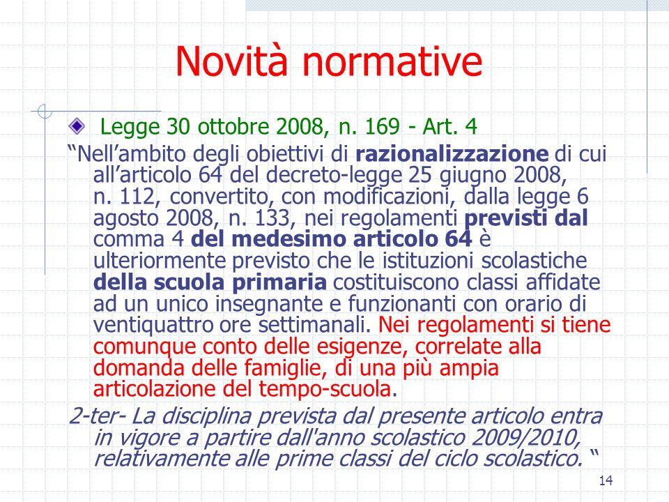 14 Novità normative Legge 30 ottobre 2008, n. 169 - Art. 4 Nellambito degli obiettivi di razionalizzazione di cui allarticolo 64 del decreto-legge 25