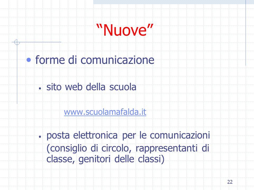 22 Nuove forme di comunicazione sito web della scuola www.scuolamafalda.it posta elettronica per le comunicazioni (consiglio di circolo, rappresentant