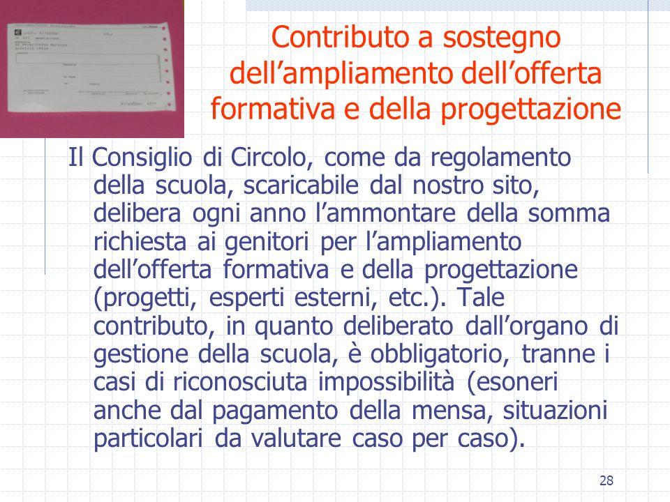 28 Contributo a sostegno dellampliamento dellofferta formativa e della progettazione Il Consiglio di Circolo, come da regolamento della scuola, scaric