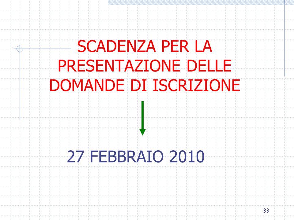 33 SCADENZA PER LA PRESENTAZIONE DELLE DOMANDE DI ISCRIZIONE 27 FEBBRAIO 2010