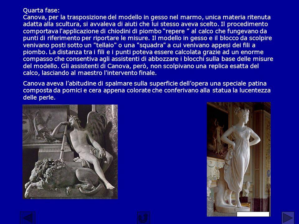 Quarta fase: Canova, per la trasposizione del modello in gesso nel marmo, unica materia ritenuta adatta alla scultura, si avvaleva di aiuti che lui st