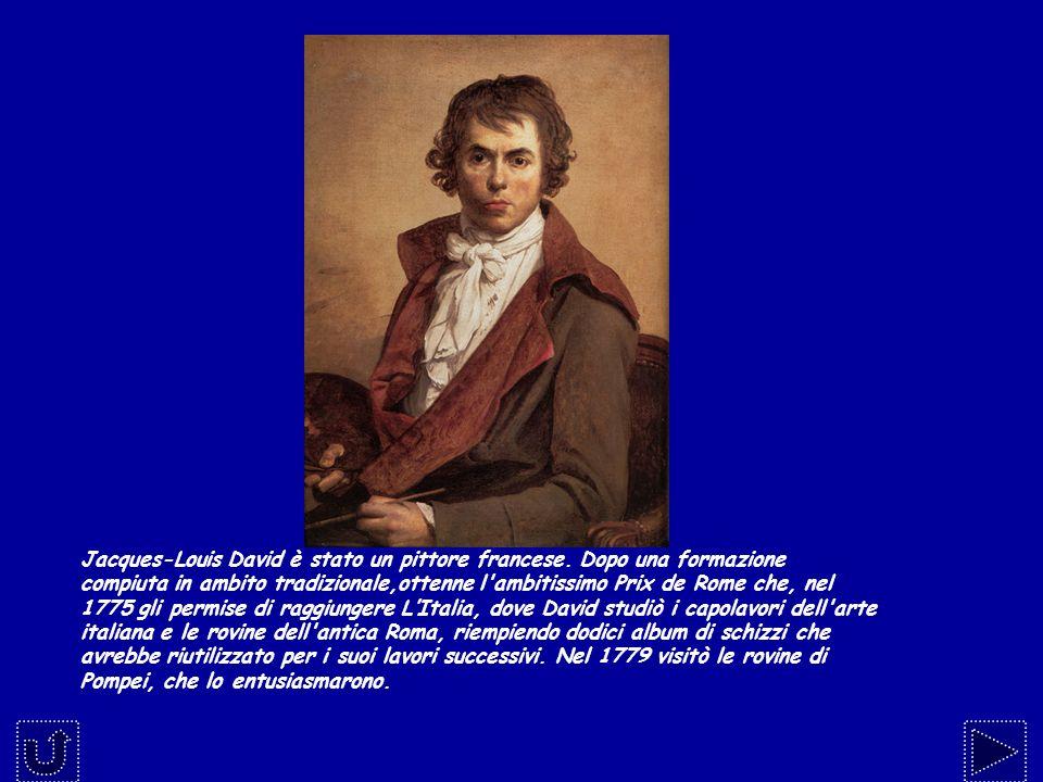 Jacques-Louis David è stato un pittore francese. Dopo una formazione compiuta in ambito tradizionale,ottenne l'ambitissimo Prix de Rome che, nel 1775
