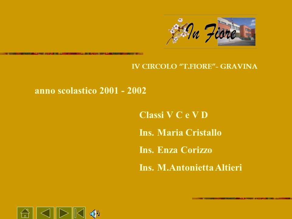 IV CIRCOLO T.FIORE- GRAVINA Classi V C e V D Ins. Maria Cristallo Ins. Enza Corizzo Ins. M.Antonietta Altieri anno scolastico 2001 - 2002
