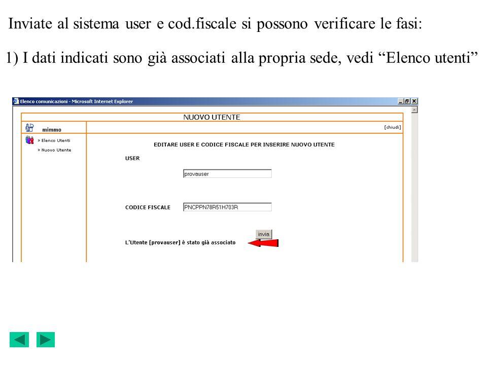 Inviate al sistema user e cod.fiscale si possono verificare le fasi: 1) I dati indicati sono già associati alla propria sede, vedi Elenco utenti