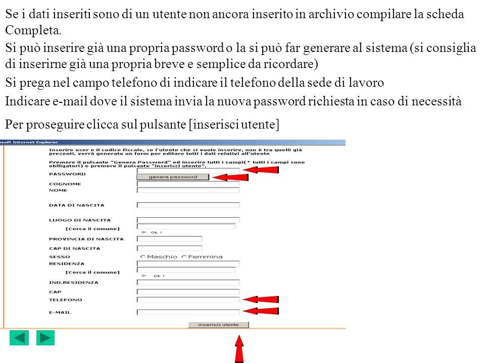 Se i dati inseriti sono di un utente non ancora inserito in archivio compilare la scheda Completa.