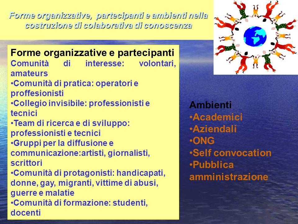 Forme organizzative, partecipanti e ambienti nella costruzione di colaborativa di conoscenza Forme organizzative e partecipanti Comunità di interesse: