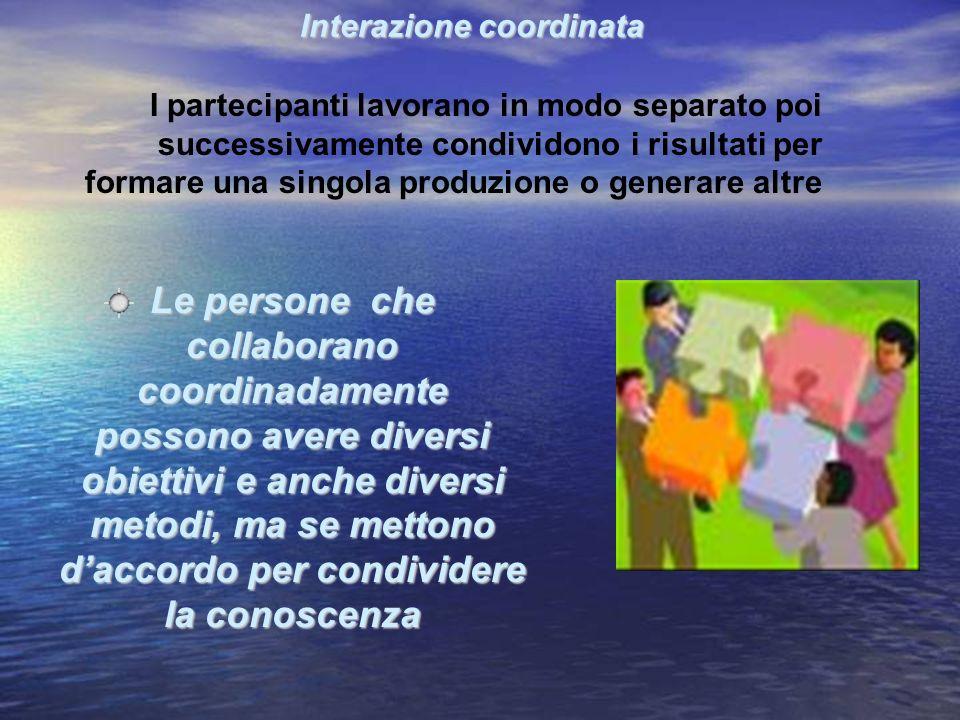 I partecipanti lavorano in modo separato poi successivamente condividono i risultati per formare una singola produzione o generare altre Le persone ch