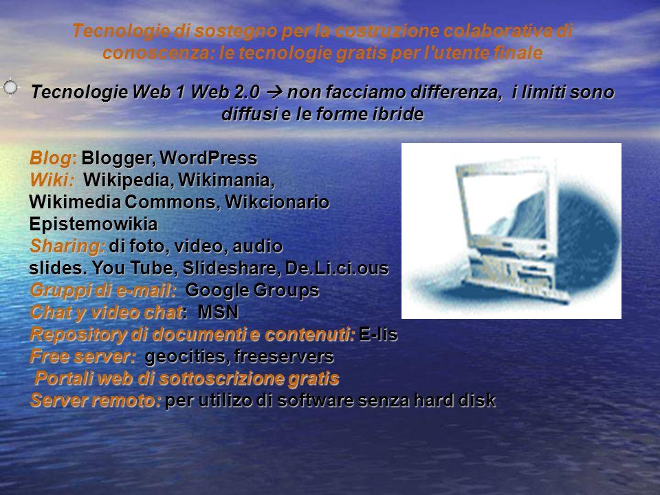 Blog: Blogger, WordPress Wiki: Wikipedia, Wikimania, Wikimedia Commons, Wikcionario Epistemowikia Sharing: di foto, video, audio slides. You Tube, Sli
