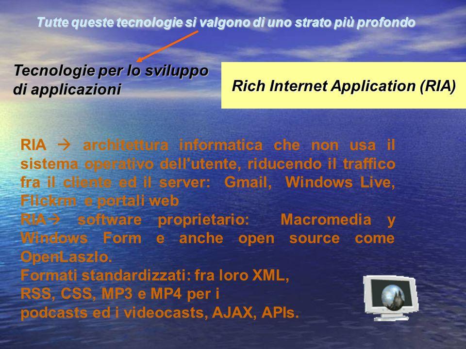 RIA architettura informatica che non usa il sistema operativo dell'utente, riducendo il traffico fra il cliente ed il server: Gmail, Windows Live, Fli