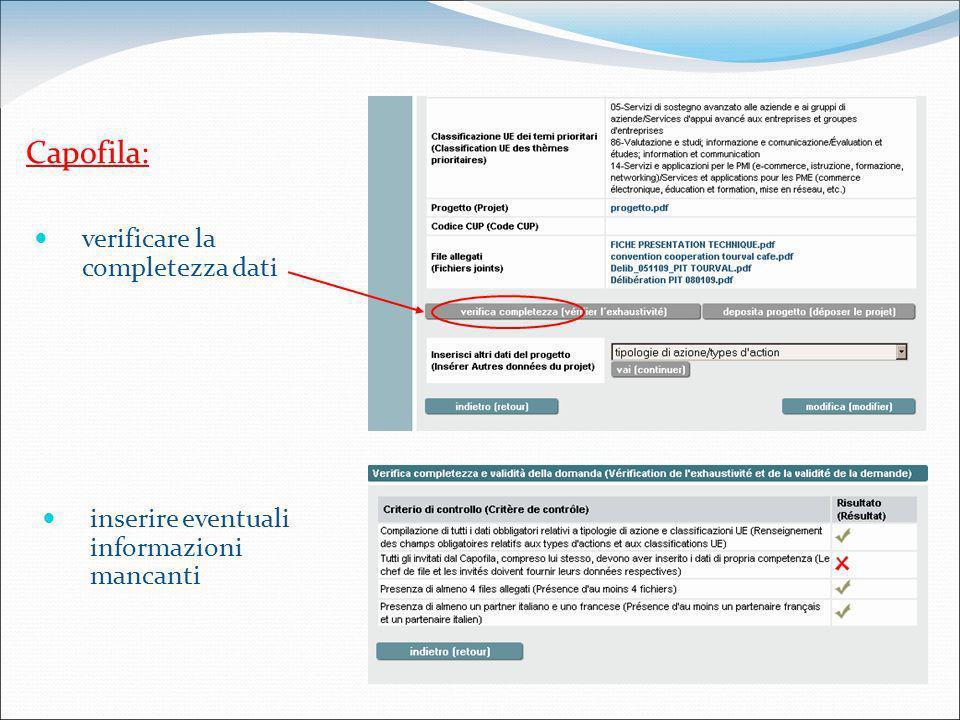 Capofila: verificare la completezza dati inserire eventuali informazioni mancanti