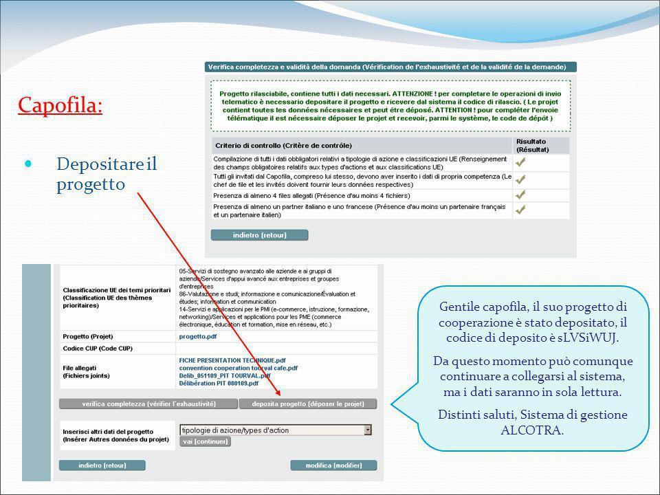 Capofila: Gentile capofila, il suo progetto di cooperazione è stato depositato, il codice di deposito è sLVSiWUJ.