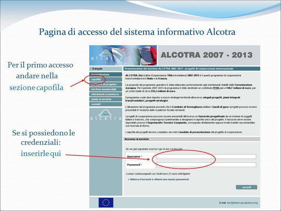 Pagina di accesso del sistema informativo Alcotra Per il primo accesso andare nella sezione capofila Se si possiedono le credenziali: inserirle qui