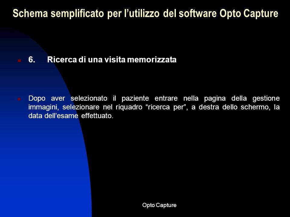 Opto Capture Schema semplificato per lutilizzo del software Opto Capture 5. Nuova visita Per creare una nuova visita scegliere il paziente desiderato