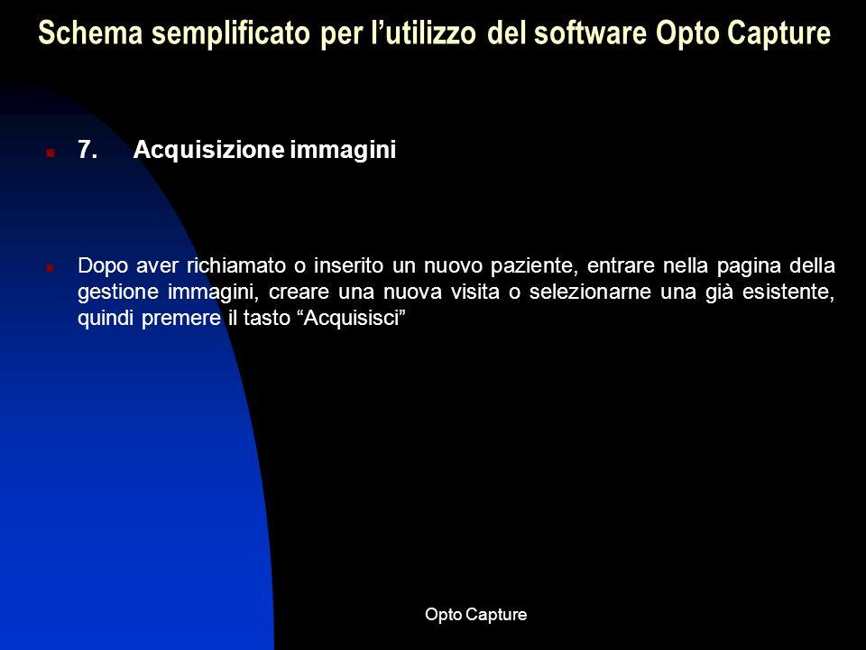 Opto Capture Schema semplificato per lutilizzo del software Opto Capture 6. Ricerca di una visita memorizzata Dopo aver selezionato il paziente entrar