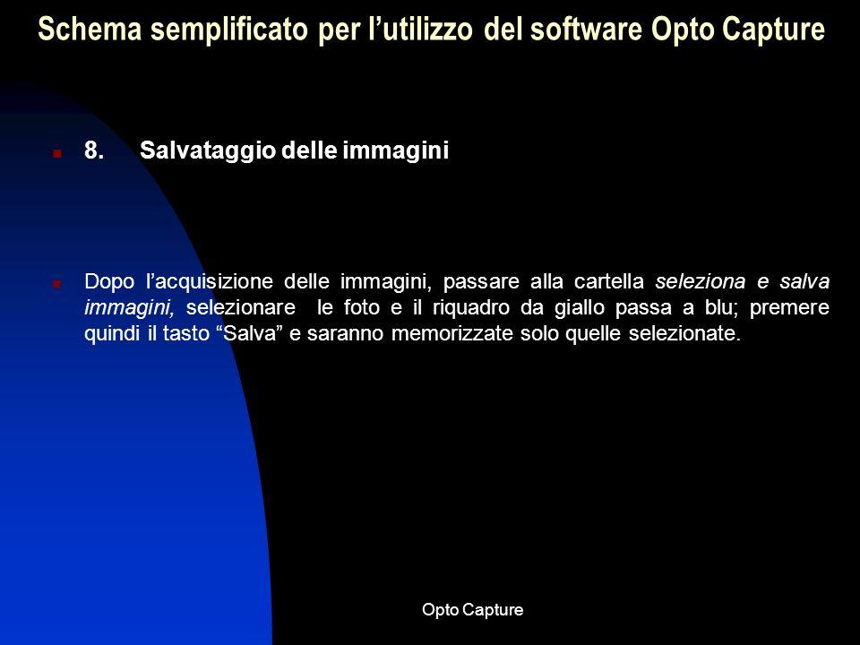 Opto Capture Schema semplificato per lutilizzo del software Opto Capture 7. Acquisizione immagini Dopo aver richiamato o inserito un nuovo paziente, e