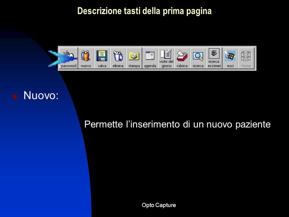 Opto Capture Schema semplificato per lutilizzo del software Opto Capture 11.