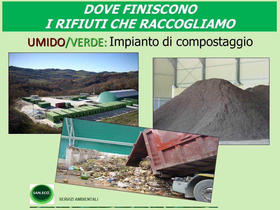 DOVE FINISCONO I RIFIUTI CHE RACCOGLIAMO SERVIZI AMBIENTALI UMIDO/VERDE: UMIDO/VERDE: Impianto di compostaggio