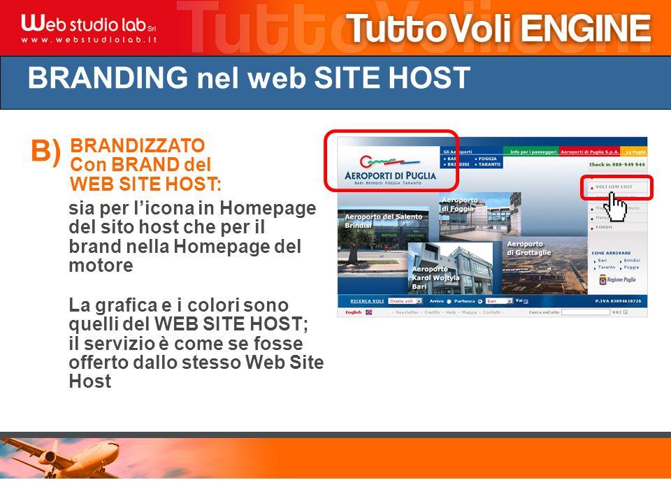 BRANDING nel web SITE HOST BRANDIZZATO Con BRAND del WEB SITE HOST: La grafica e i colori sono quelli del WEB SITE HOST; il servizio è come se fosse offerto dallo stesso Web Site Host B) sia per licona in Homepage del sito host che per il brand nella Homepage del motore