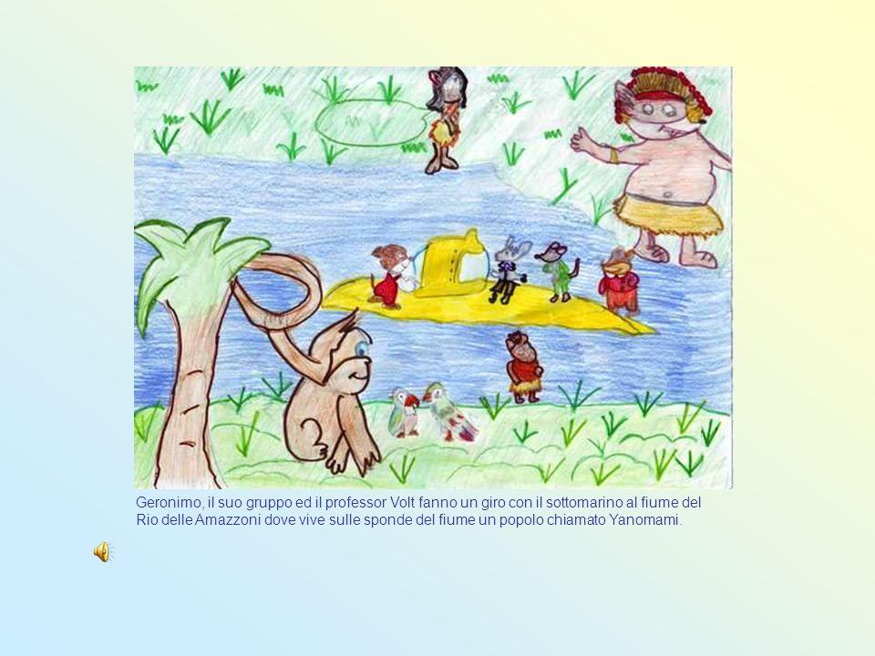 Geronimo, il suo gruppo ed il professor Volt fanno un giro con il sottomarino al fiume del Rio delle Amazzoni dove vive sulle sponde del fiume un popo