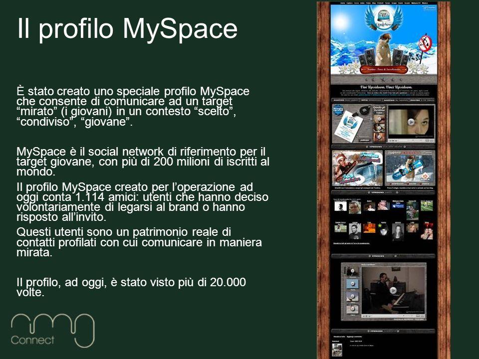 Il profilo MySpace È stato creato uno speciale profilo MySpace che consente di comunicare ad un target mirato (i giovani) in un contesto scelto, condiviso, giovane.