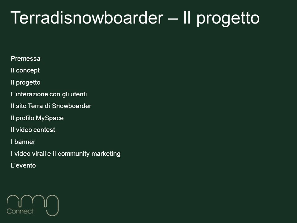 Premessa Il concept Il progetto Linterazione con gli utenti Il sito Terra di Snowboarder Il profilo MySpace Il video contest I banner I video virali e il community marketing Levento Terradisnowboarder – Il progetto