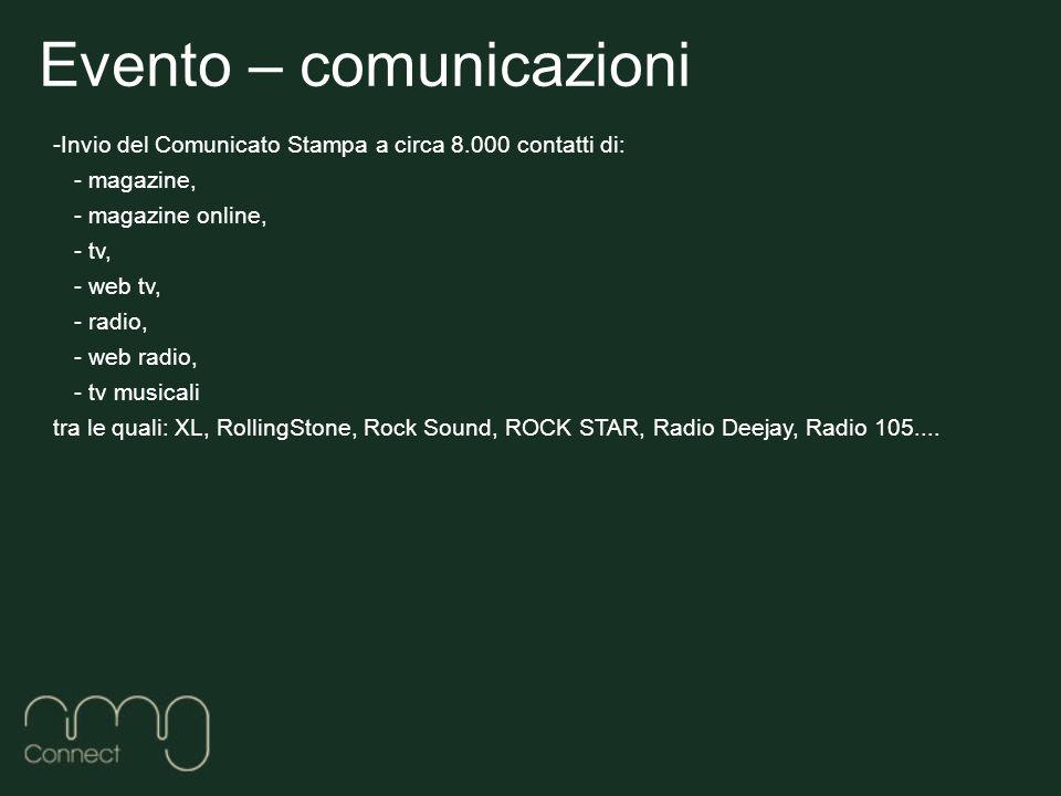 Evento – comunicazioni -Invio del Comunicato Stampa a circa 8.000 contatti di: - magazine, - magazine online, - tv, - web tv, - radio, - web radio, - tv musicali tra le quali: XL, RollingStone, Rock Sound, ROCK STAR, Radio Deejay, Radio 105....