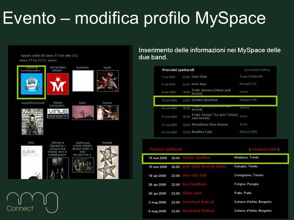 Inserimento delle informazioni nei MySpace delle due band.
