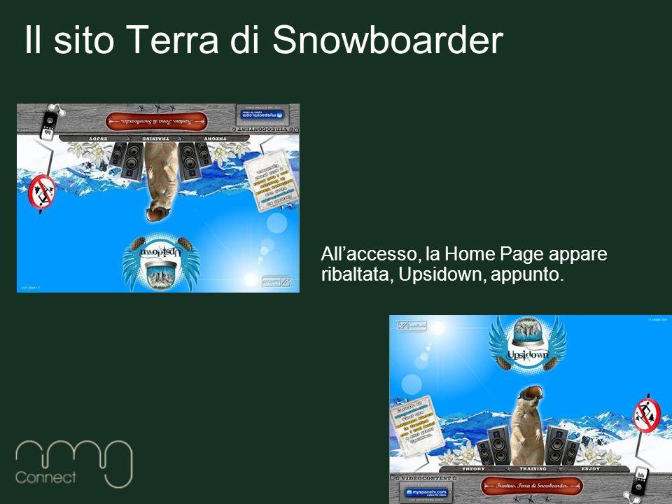 Il sito Terra di Snowboarder Allaccesso, la Home Page appare ribaltata, Upsidown, appunto.