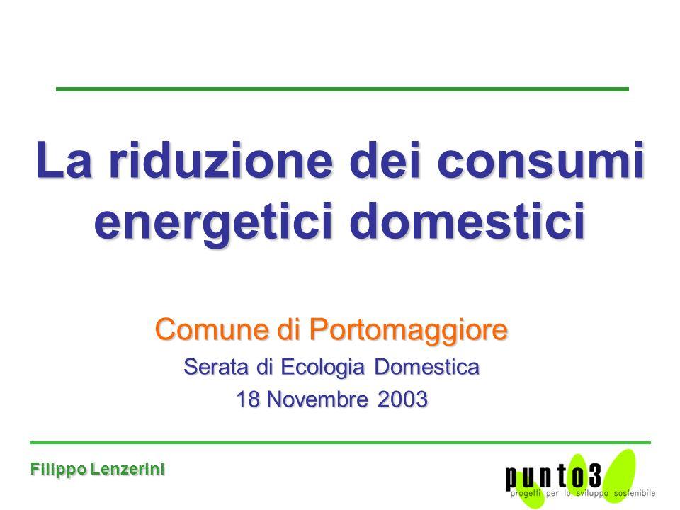 Filippo Lenzerini Comune di Portomaggiore Serata di Ecologia Domestica 18 Novembre 2003 La riduzione dei consumi energetici domestici