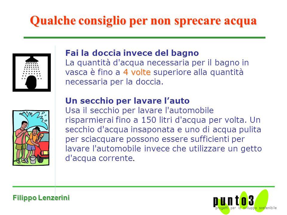 Filippo Lenzerini Qualche consiglio per non sprecare acqua Fai la doccia invece del bagno 4 volte La quantità d acqua necessaria per il bagno in vasca è fino a 4 volte superiore alla quantità necessaria per la doccia.