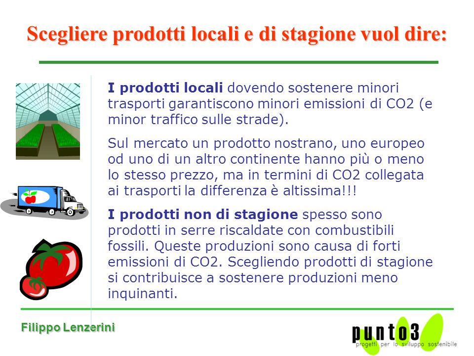 Filippo Lenzerini Scegliere prodotti locali e di stagione vuol dire: I prodotti locali dovendo sostenere minori trasporti garantiscono minori emissioni di CO2 (e minor traffico sulle strade).