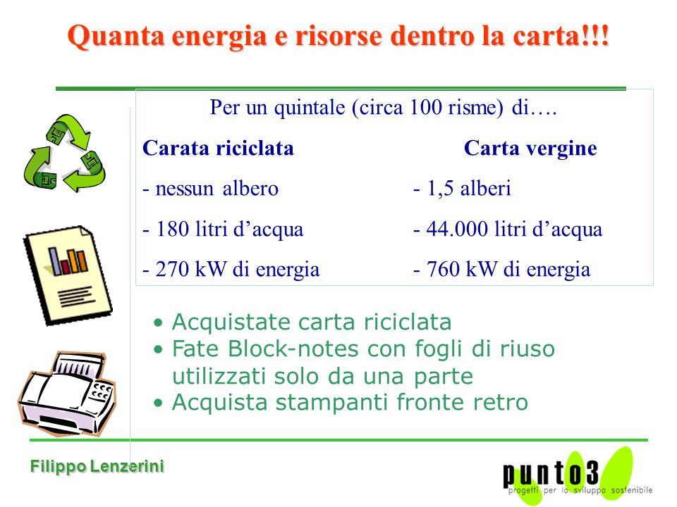 Filippo Lenzerini Acquistate carta riciclata Fate Block-notes con fogli di riuso utilizzati solo da una parte Acquista stampanti fronte retro Quanta energia e risorse dentro la carta!!.