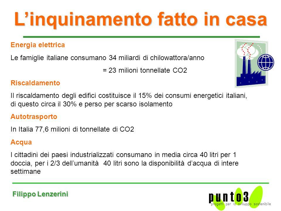 Filippo Lenzerini Linquinamento fatto in casa Energia elettrica Le famiglie italiane consumano 34 miliardi di chilowattora/anno = 23 milioni tonnellate CO2 Riscaldamento Il riscaldamento degli edifici costituisce il 15% dei consumi energetici italiani, di questo circa il 30% e perso per scarso isolamento Autotrasporto In Italia 77,6 milioni di tonnellate di CO2 Acqua I cittadini dei paesi industrializzati consumano in media circa 40 litri per 1 doccia, per i 2/3 dellumanità 40 litri sono la disponibilità dacqua di intere settimane