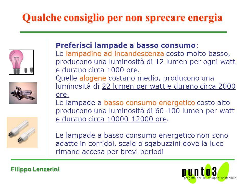 Filippo Lenzerini Qualche consiglio per non sprecare energia Preferisci lampade a basso consumo: lampadine ad incandescenza Le lampadine ad incandescenza costo molto basso, producono una luminosità di 12 lumen per ogni watt e durano circa 1000 ore.