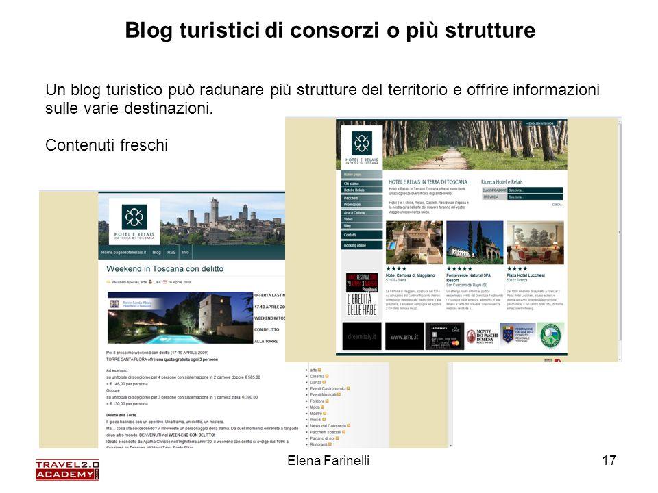 Elena Farinelli17 Un blog turistico può radunare più strutture del territorio e offrire informazioni sulle varie destinazioni. Contenuti freschi Blog