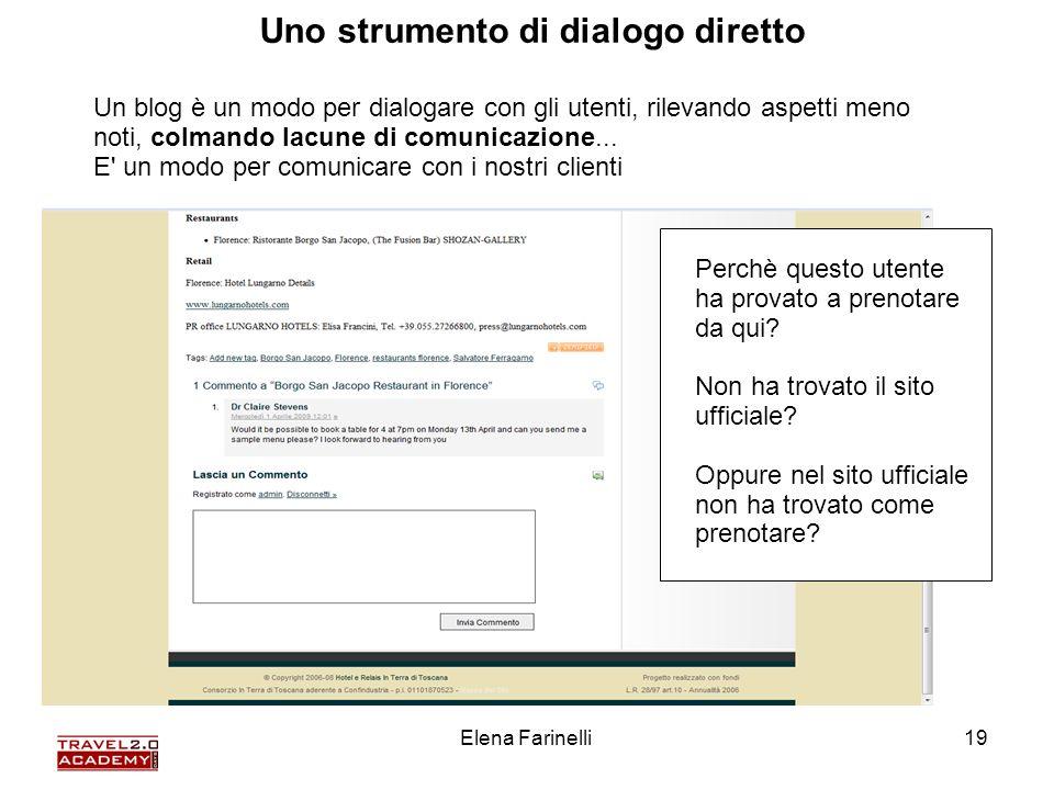 Elena Farinelli19 Un blog è un modo per dialogare con gli utenti, rilevando aspetti meno noti, colmando lacune di comunicazione... E' un modo per comu