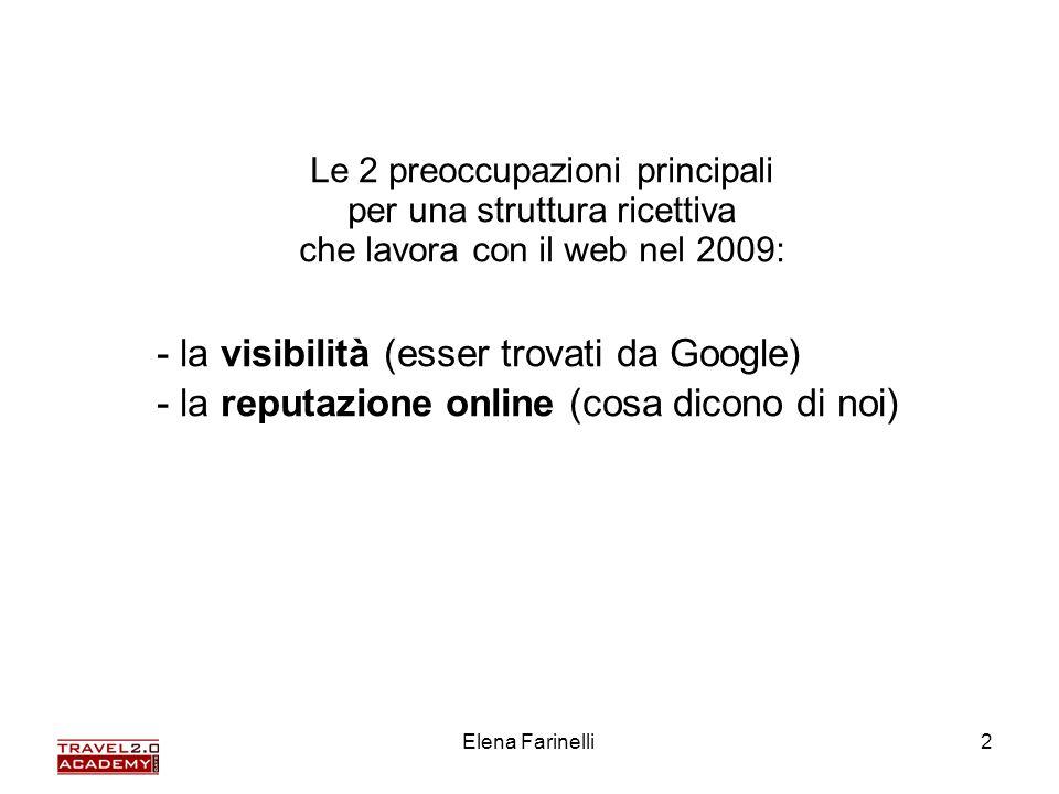 Elena Farinelli2 - la visibilità (esser trovati da Google) - la reputazione online (cosa dicono di noi) Le 2 preoccupazioni principali per una struttu