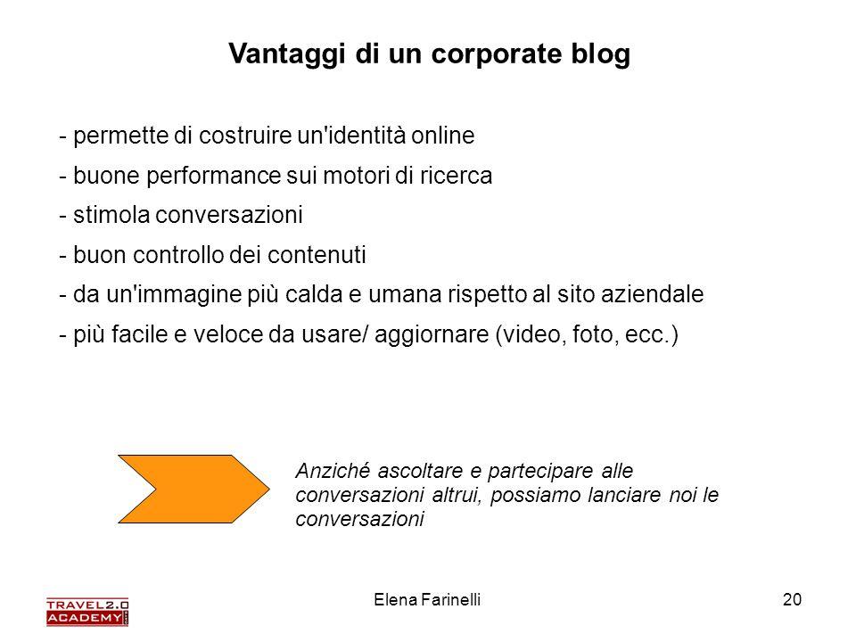 Elena Farinelli20 Vantaggi di un corporate blog - permette di costruire un'identità online - buone performance sui motori di ricerca - stimola convers